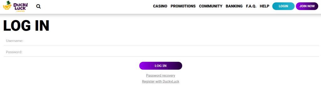 Ducky Luck Casino Login